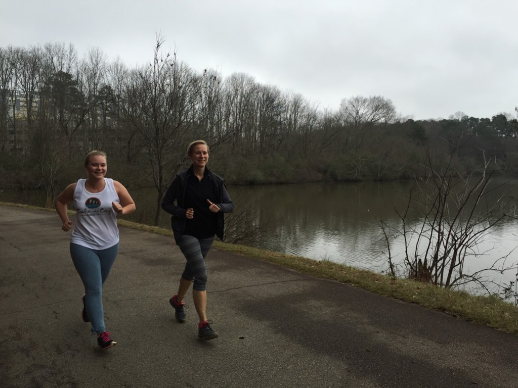 Alex and Mary Catherine enjoying the run around Candler Lake