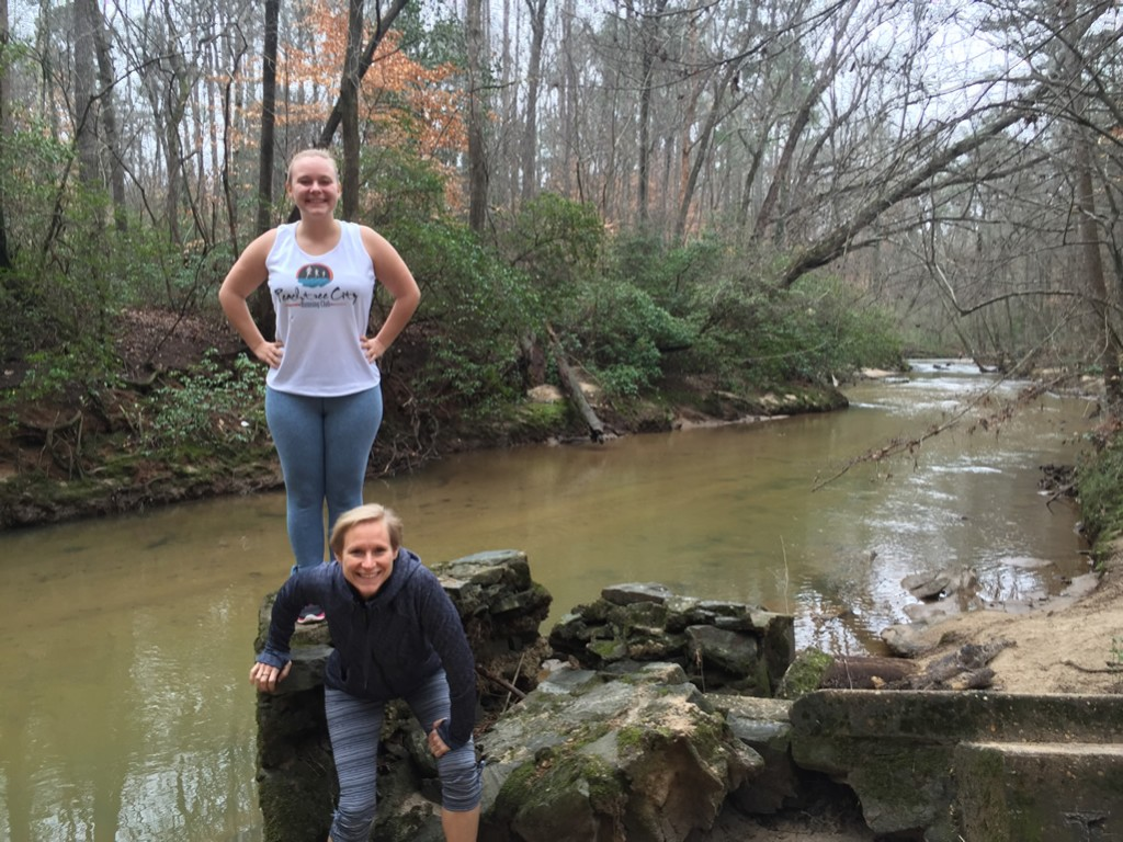 Alex and Mary Catherine along South Peachtree Creek in Hahn Woods