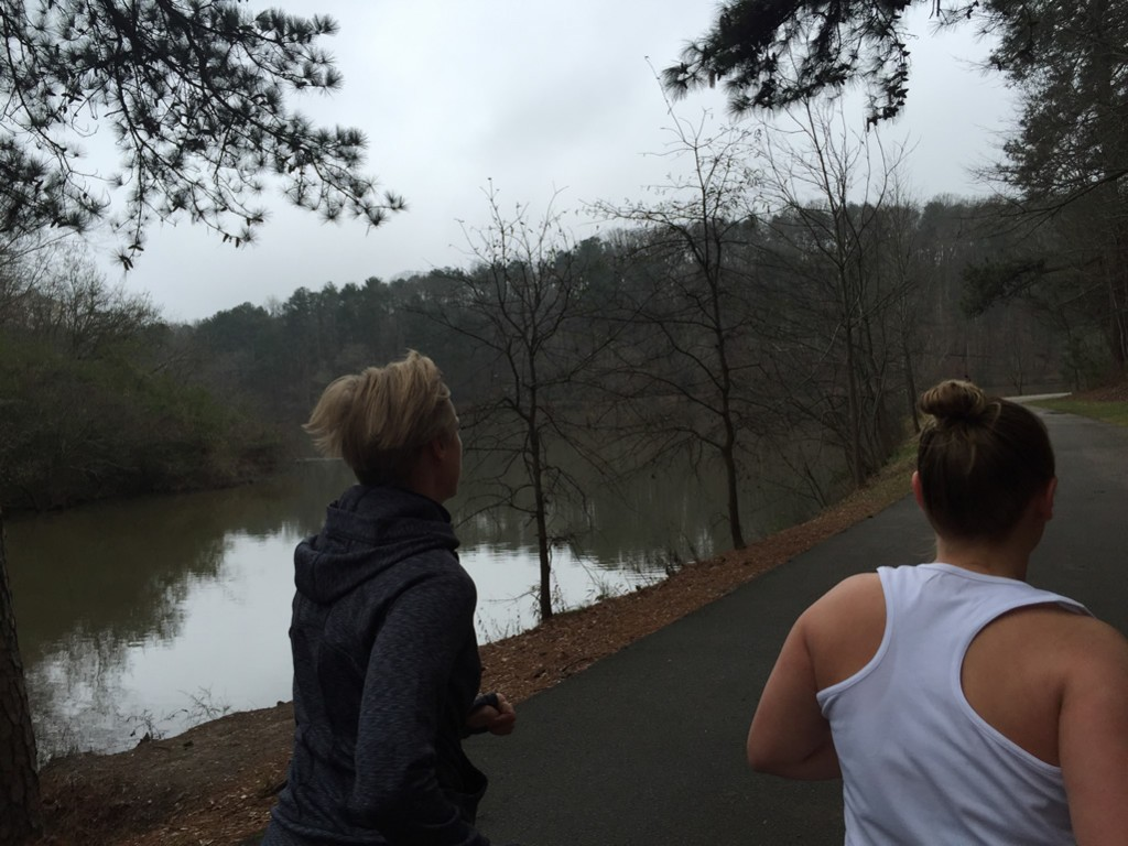 Mary Catherine and Alex head around the west side of Candler Lake
