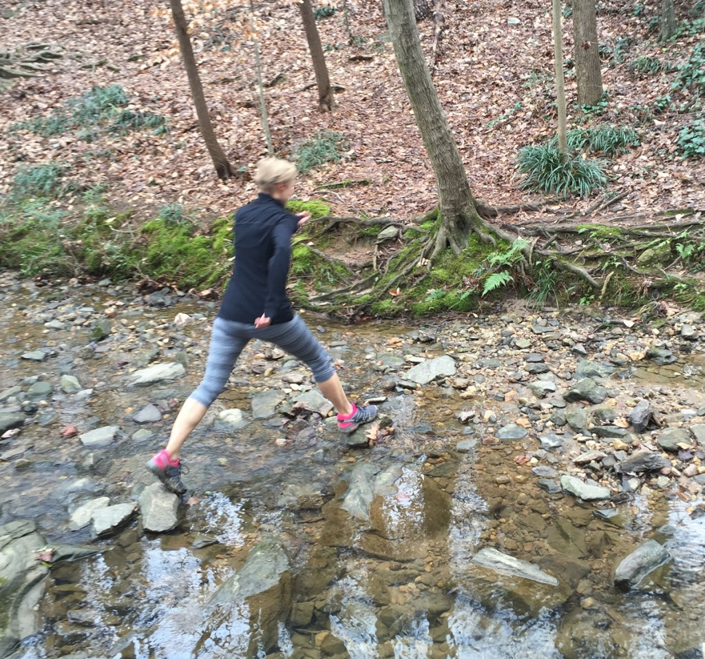 Mary Catherine crossing the creek a little off the trail